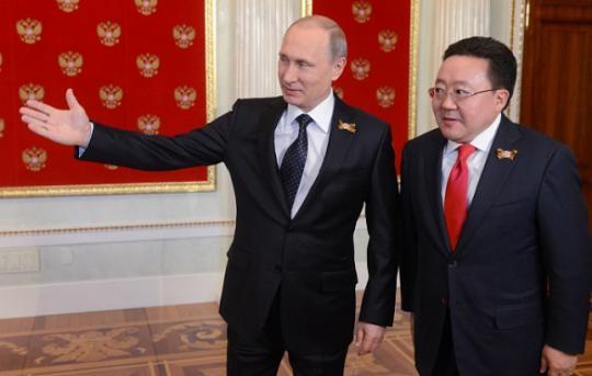 Президент Монголии Цахиагийн Элбэгдорж на встрече с президентом России Владимиром Путиным. Фото: ria.ru